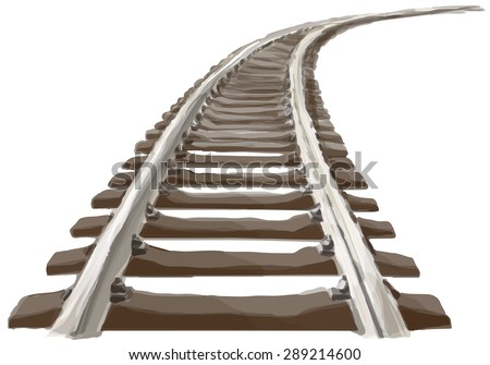 Curved endless Train track. Perspective view of Curved Train track. Color version.  - stock vector