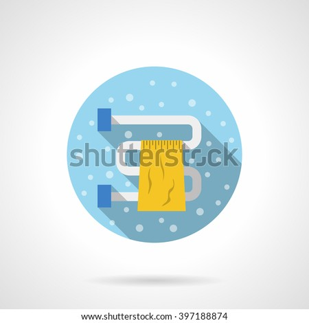 Curved heating pipe with hanging yellow towel. Bathroom dryer. Bubbles style. Flat color round vector icon. Element for web design, business, mobile app.  - stock vector