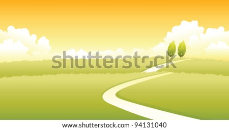 Curved path over green landscape - stock vector