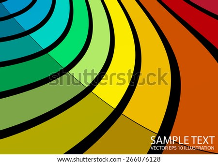 Curved rainbow background  abstract vector illustration - Vector colorful abstract striped  background template - stock vector