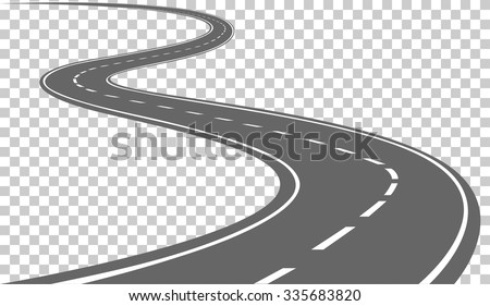 Curved road with white markings. Vector illustration - stock vector