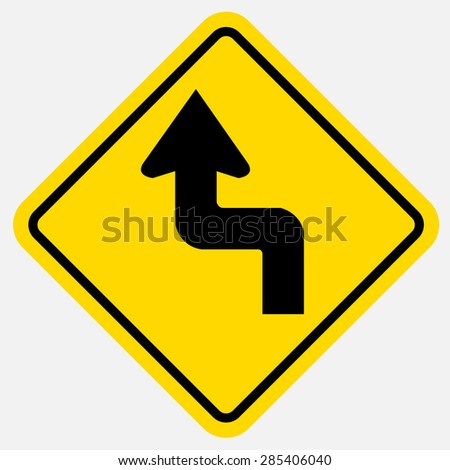 Curved Traffic sign - stock vector