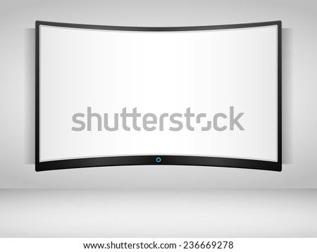Curved TV screen on the wall, vector eps10 illustration - stock vector