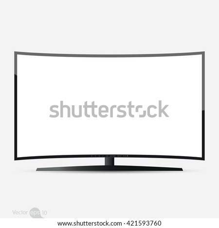 Curved TV screen, vector - stock vector