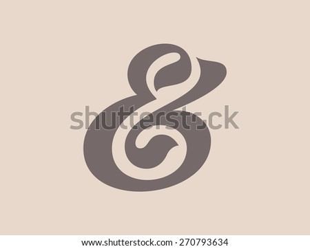 Custom ampersand symbol for a typography template. Vector illustration - stock vector