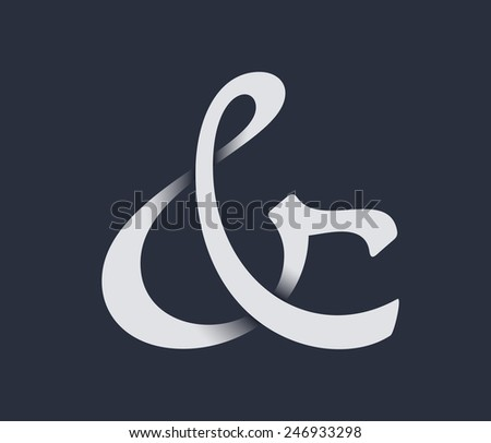 Custom ampersand with shadow. Vector illustration - stock vector