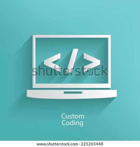 Custom coding symbol on blue background,clean vector - stock vector