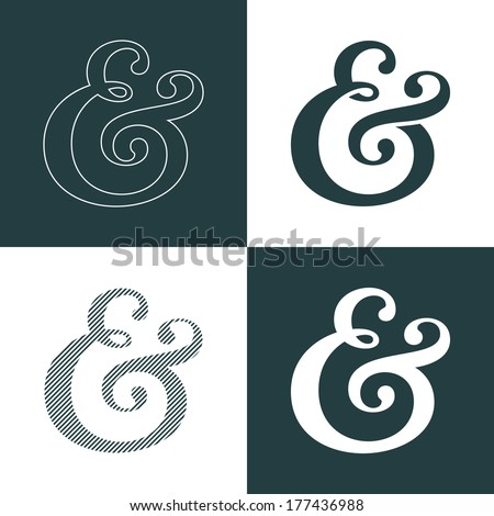 Custom decoration ampersand. This typographic symbol can used as the decorative element for wedding invitations and cards. Vector illustration - stock vector