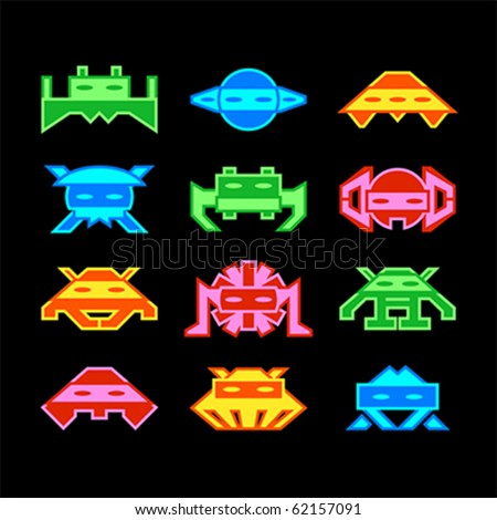 Custom designed space aliens similar to old arcade game - stock vector