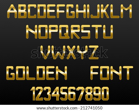 Custom golden font of English alphabet and numbers - stock vector