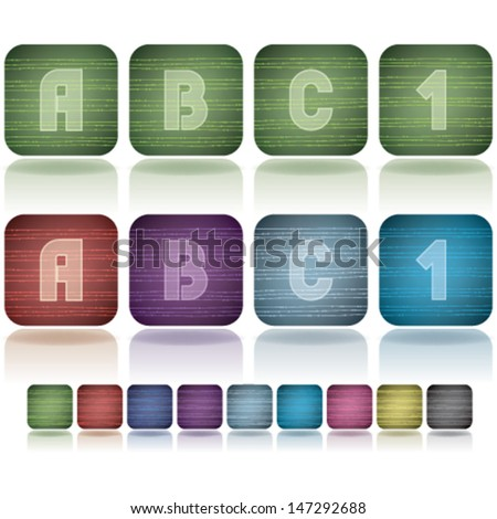 Custom made alphabet (drawn from the scratch) digits and capital letters icons set:  A, B, C, 1.