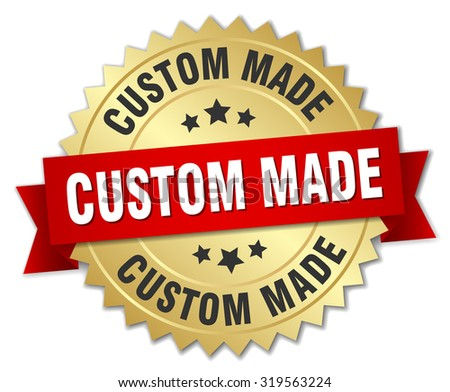 custom made 3d gold badge with red ribbon - stock vector