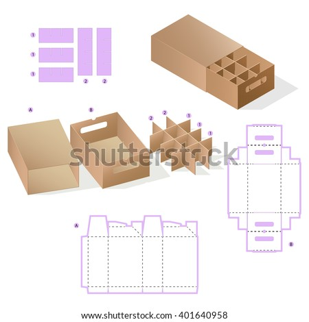 Custom Rectangle Protective Box design, Caring die-stamping Template, Folding  Instructions, Portable Container - stock vector