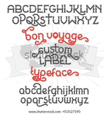 Custom retro typeface bon voyage vintage stock vector hd royalty vintage alphabet font set and world map ribbon scroll gumiabroncs Choice Image
