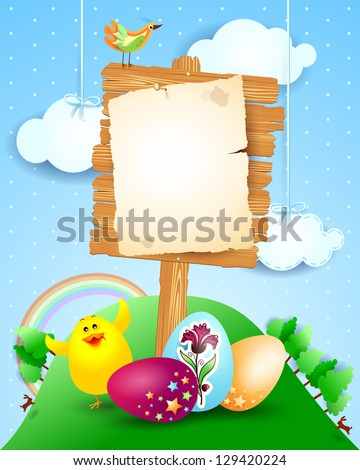 Custom signboard on Easter landscape, vector - stock vector