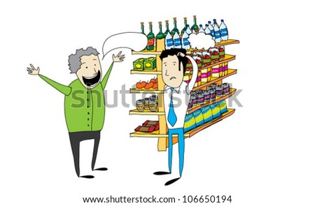 Customer and seller in the market - stock vector