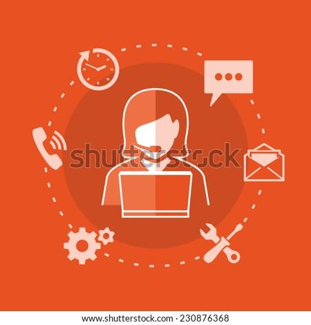Customer and technical support. Woman using laptop. Support phone operator with headset. - stock vector