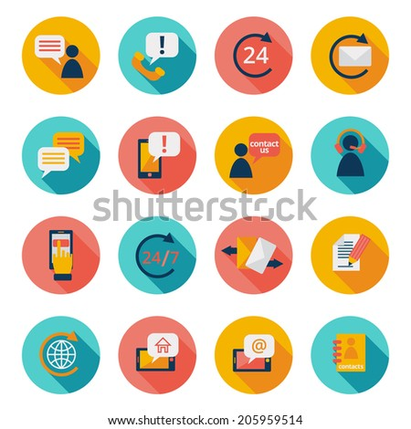 Customer care contacts flat icons set of online and offline support services isolated vector illustration - stock vector