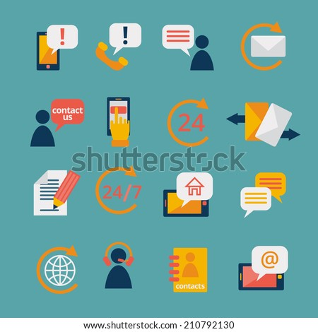 Customer care contacts in flat style icons set of online and offline support services isolated vector illustration - stock vector