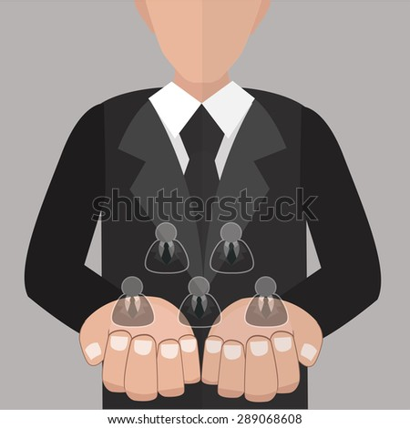 Customer care / flat design / vector / illustration / marketing / human resources - stock vector