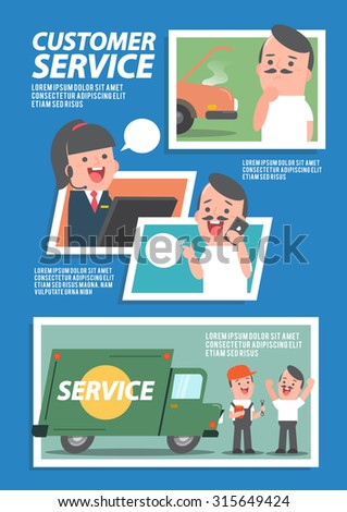 Customer cars service infographics - Vector Illustration - stock vector