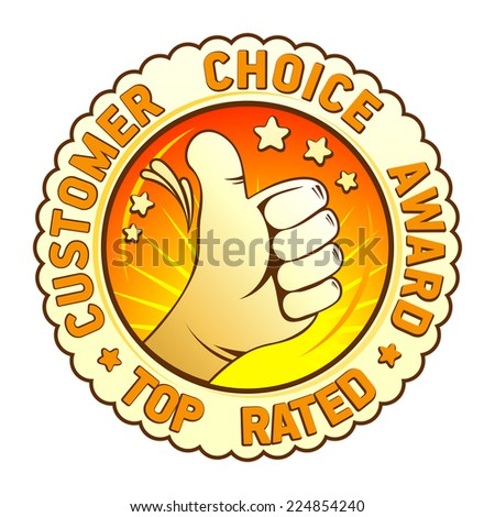 Customer choice award emblem with hand thumbs up. - stock vector