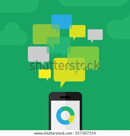 Customer - clients review concept depicted using phone and comment icons - stock vector
