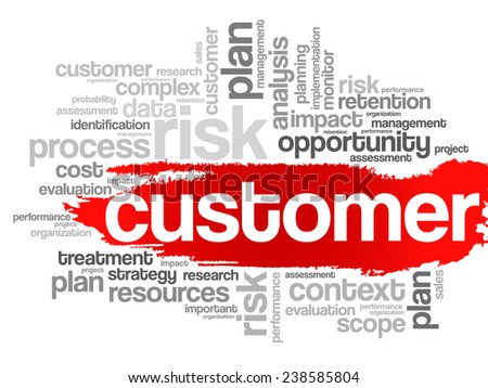 Customer concept in word tag cloud, vector background - stock vector