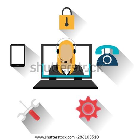 Customer design over white background, vector illustration. - stock vector