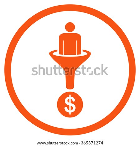 Customer Filter vector icon. Style is flat circled symbol, orange color, rounded angles, white background. - stock vector