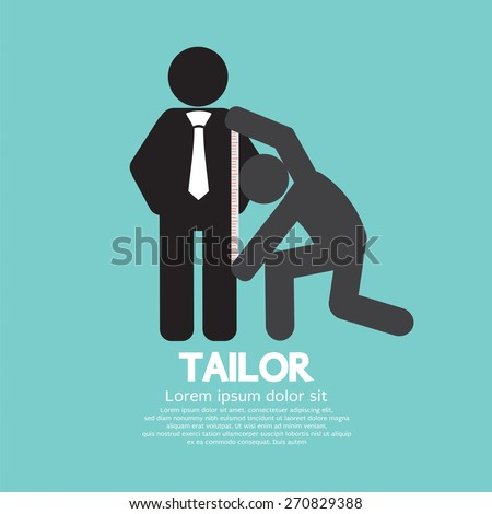 Customer Getting Measure By Tailor Symbol Vector Illustration