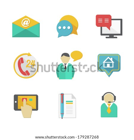 Customer helpdesk contacts design elements of envelope call and support apps isolated vector illustration - stock vector