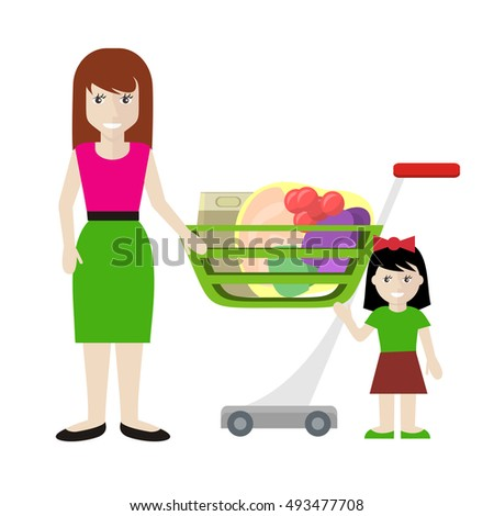Customer male character vector illustration in flat style design. Smiling woman with girl standing near shopping cart full of products. Fast and comfortable purchases concept. Isolated on white.
