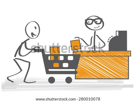 Customer pays the goods at the checkout - stock vector