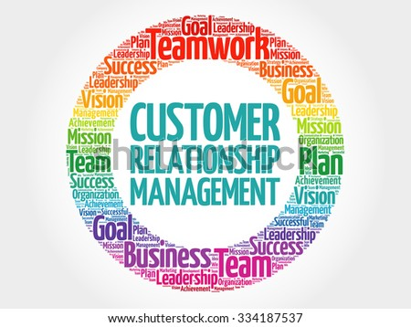 Customer Relationship Management circle stamp word cloud, business concept