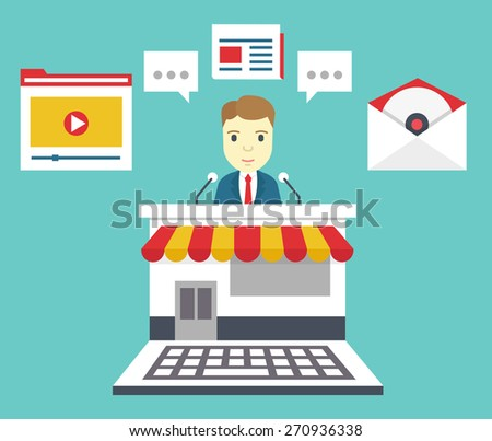 Customer Relationship Management. Means of interacting with customers: blog, newspaper, email marketing, video marketing, software, webinar, podcast - vector illustration - stock vector