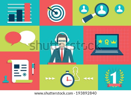 Customer Relationship Management System. Interaction and gamification - vector illustration  - stock vector