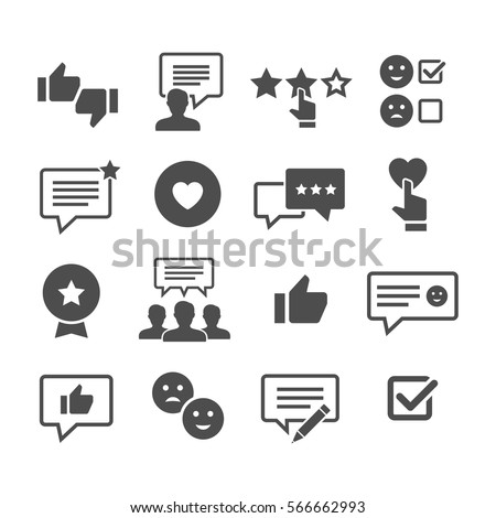 Customer Reviews Vector Icon Set Feedback And User Experience Of Clients Loyalty Testimonials