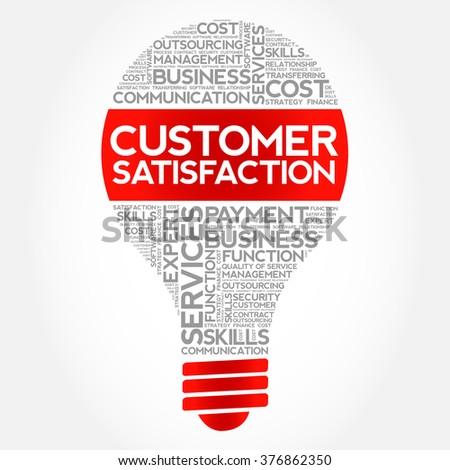 Customer Satisfaction bulb word cloud, business concept - stock vector