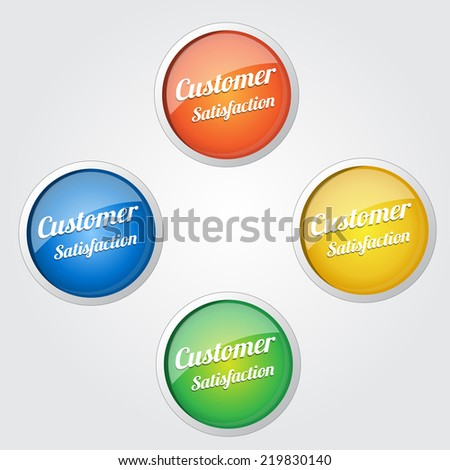 Customer Satisfaction Colorful Vector Icon Set - stock vector