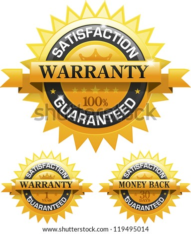 Customer satisfaction guaranteed gold badge and banner EPS 10 - stock vector