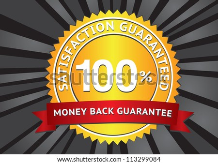 Customer satisfaction guaranteed gold seal and red banner. - stock vector