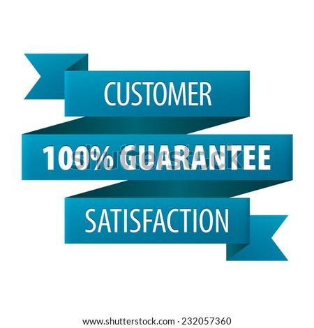 Customer Satisfaction 100 percent Guarantee tag ribbon banner icon isolated on white background. Vector illustration