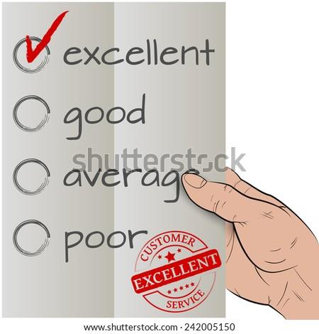 Customer satisfaction survey, excellent checked - stock vector