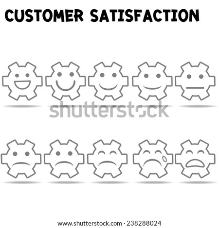 customer satisfaction survey with smile and gear cog : business concept vector - stock vector