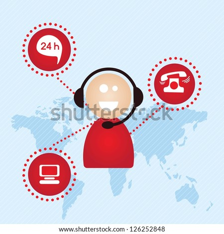 Customer service agent with icons buttons, on blue background, vector illustration - stock vector