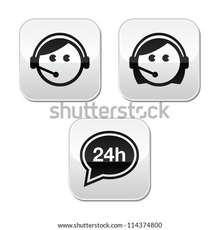 Customer service agents buttons set - stock vector