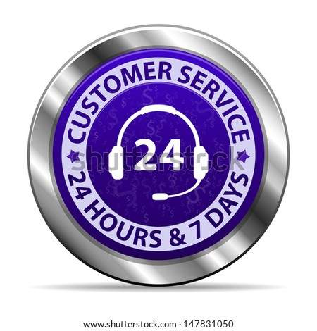 Customer service and support around the clock 24 hours a day & 7 days a week metal icon isolated on white background. Vector illustration  - stock vector