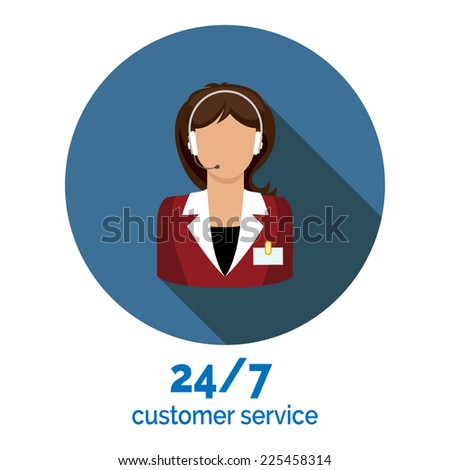 customer service flat design vector illustration with support assistant - stock vector