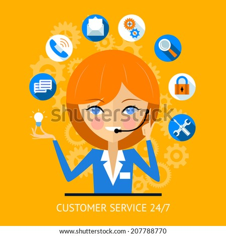 Customer service icon of a pretty smiling call center girl wearing a headset surrounded by various online web icons for payment  wifi  search  security and social media - stock vector